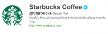 Starbucks' Twitter followers are high in number.