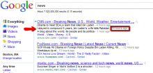 News headlines in Google's general web results.